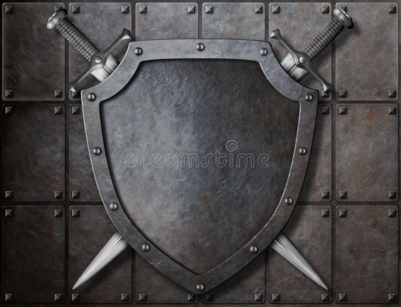 Knight el escudo y dos espadas sobre los blindajes stock de ilustración