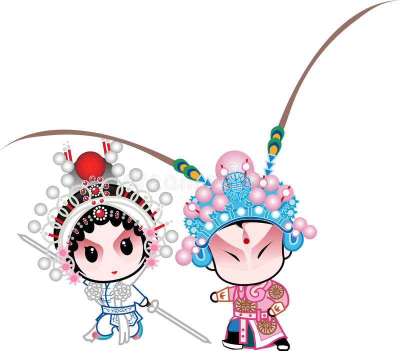Knight-errant. A couple has gongfu in Beijing opera characters vector illustration