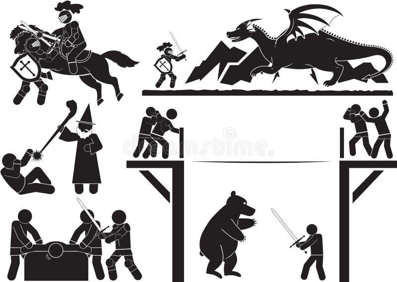 Knight fight. Icon set - Illustration stock illustration