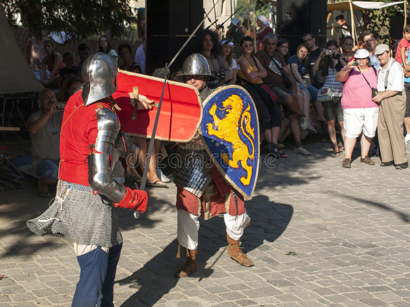Knight fight. At Sighisoara Medieval Festival 2013 stock photos