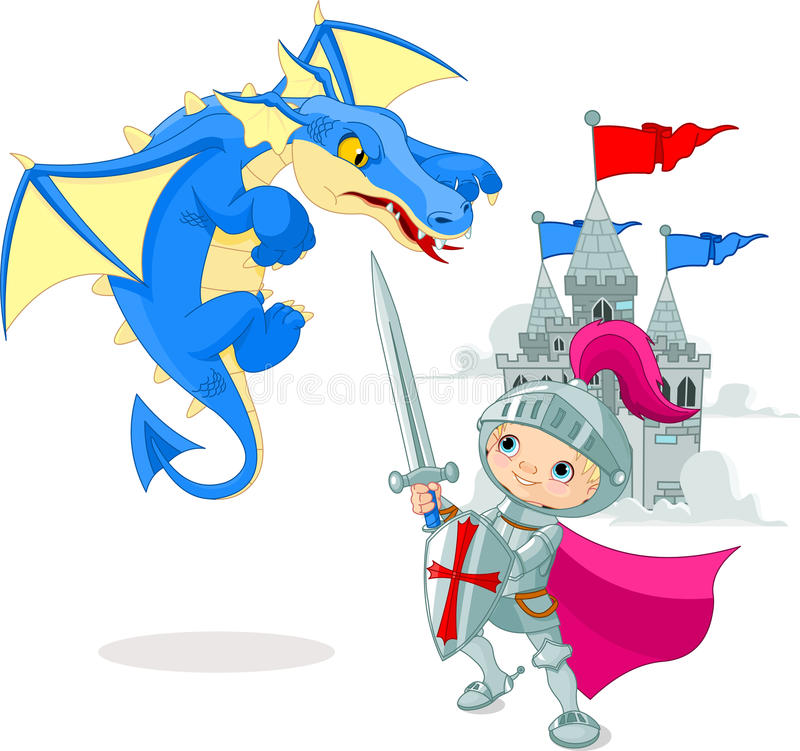 Knight fighting a dragon royalty free illustration