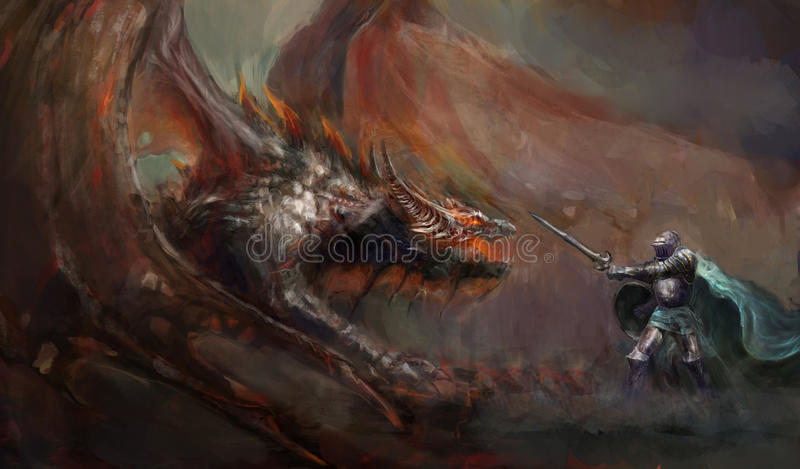 Knight fighting the dragon stock illustration