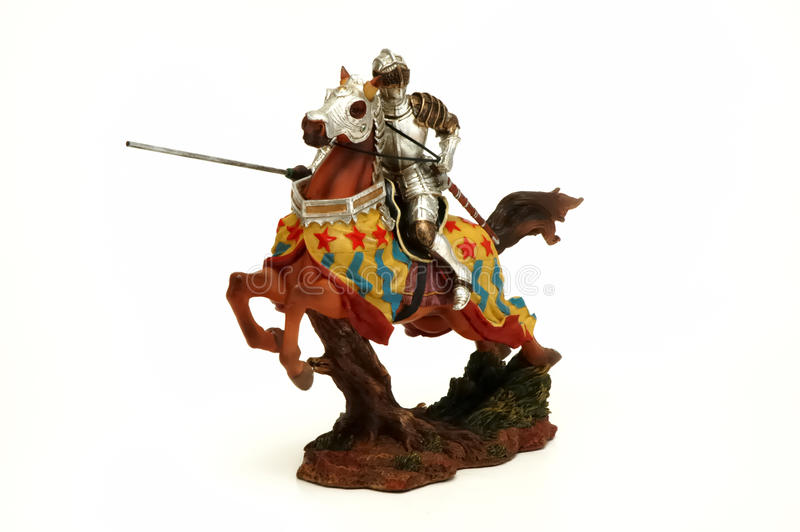 Knight figure. With horse isolated at white background royalty free stock photos
