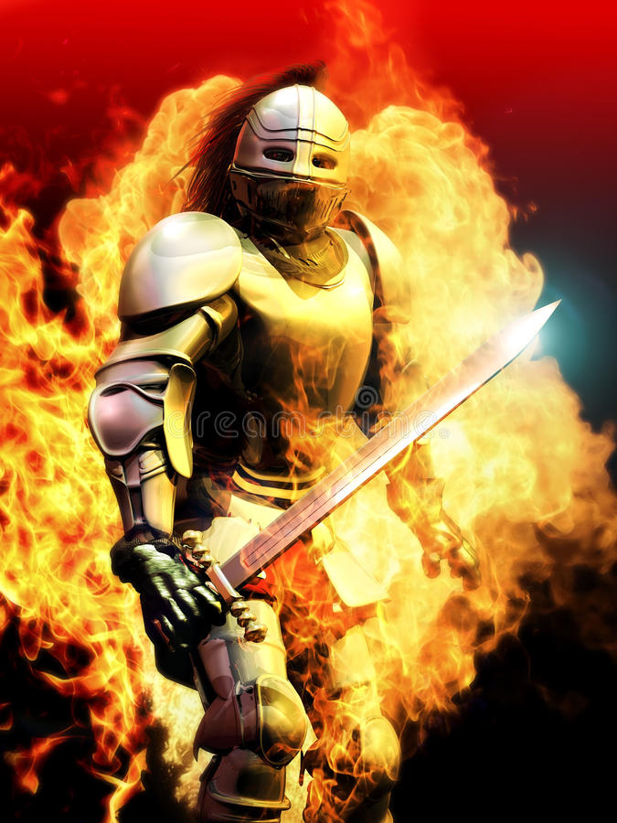 Knight on fire. Knight surrounded by fire, showing power, pride and courage vector illustration