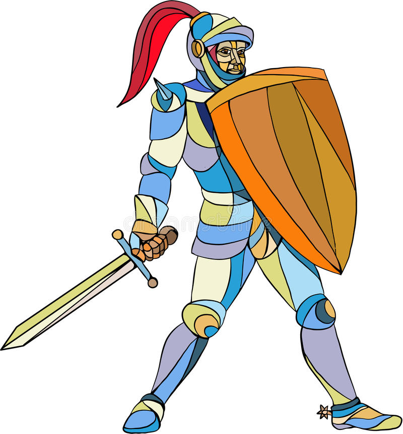 Knight Full Armor With Sword Defending Mosaic. Mosaic style illustration of knight in full armor holding sword and shield defending set on isolated white vector illustration