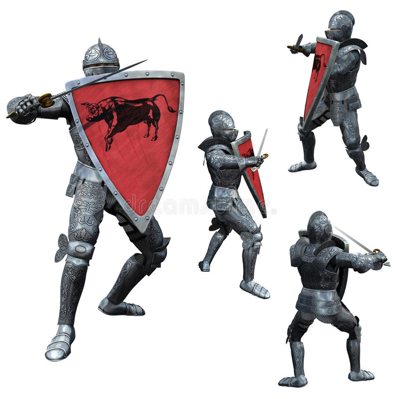 Knight in Full Armour. 3D render of medieval warrior in armour with drawn sword and shield stock illustration