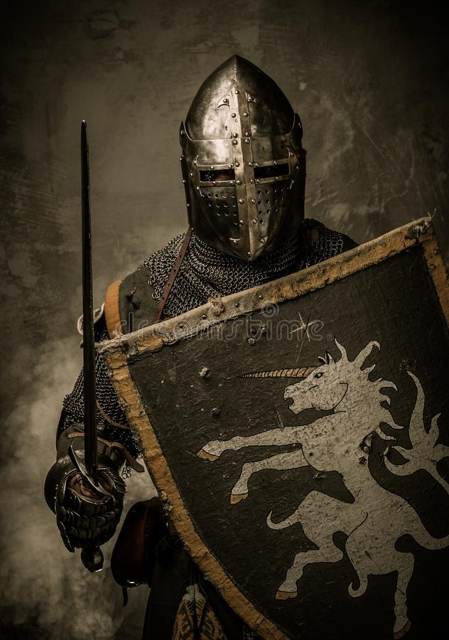 Knight in full armour royalty free stock photo