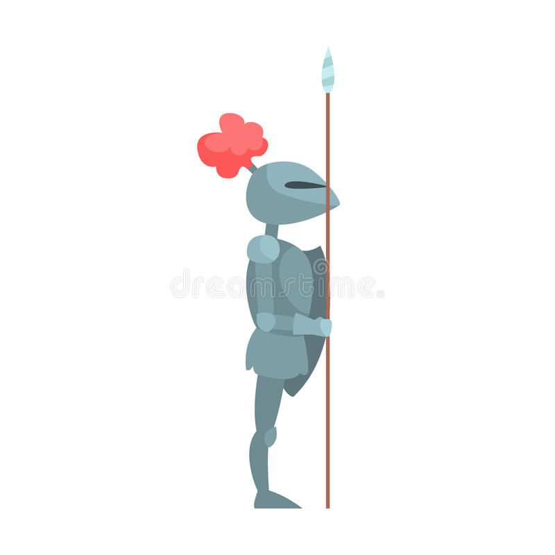Knight In Full Body Armor With Lance Fairy Tale Cartoon Childish Character stock illustration