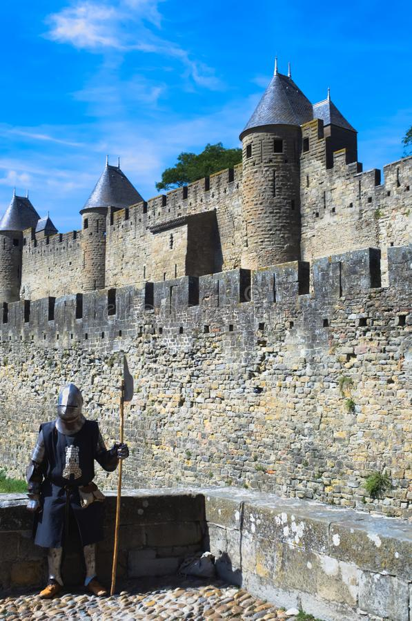 Knight guard at the French medieval city of Carcassonne stock photography