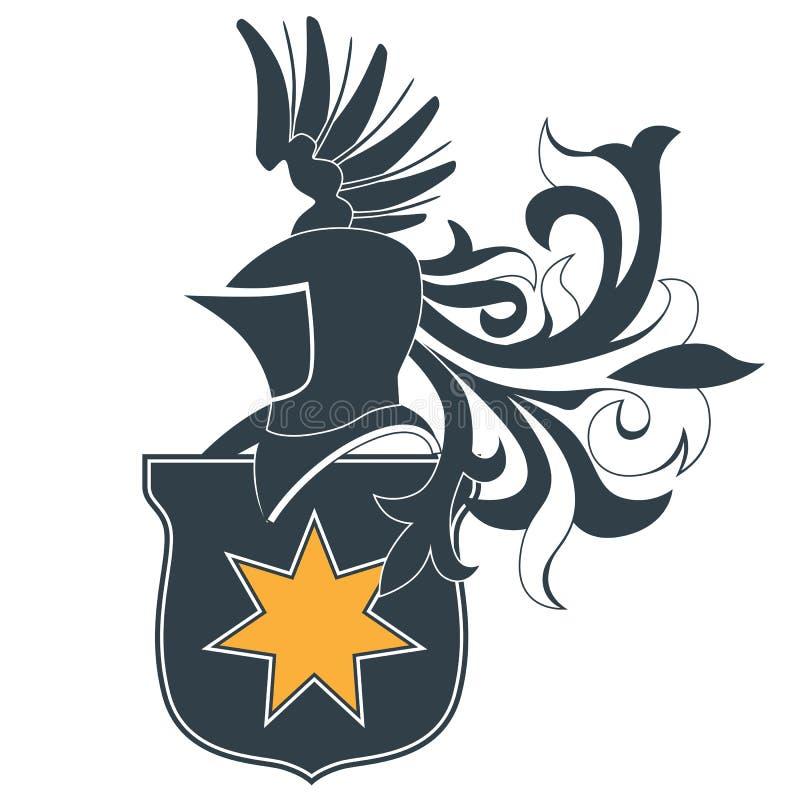 Knight Helmet And Shield Stock Image