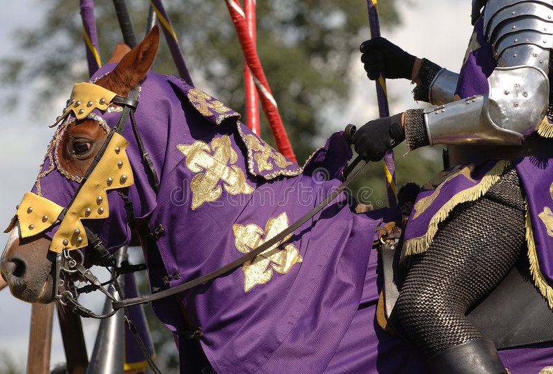 Knight on horse #1. Knight and horse getting ready to joust stock images