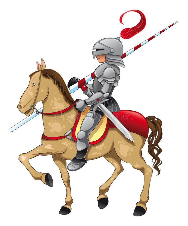 Knight and Horse. Vector Image, software: Illustrator