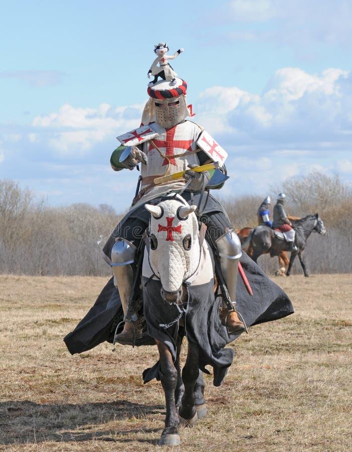 The knight on horseback stock photography