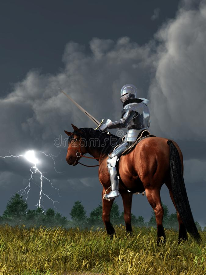 Sir Lightning Rod. A knight on horseback in shining armor looks down at the sword in his hand as lightning strikes off in the distance. His horse looks back at vector illustration
