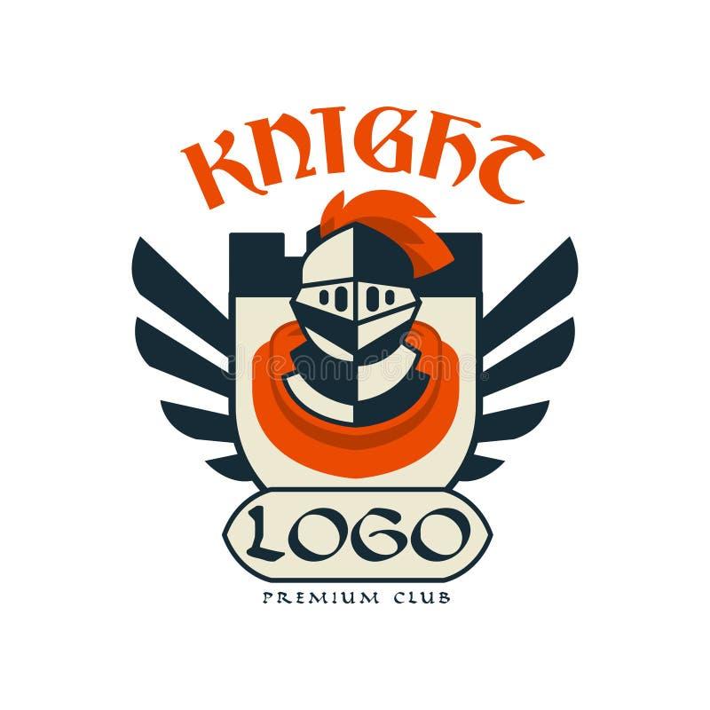 Knight il logo, il club premio, il distintivo d'annata o l'etichetta, illustrazione di vettore dell'elemento dell'araldica royalty illustrazione gratis