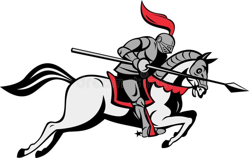 Download Knight With Lance Riding Horse Stock Illustration - Illustration of armor, spear: 17357267