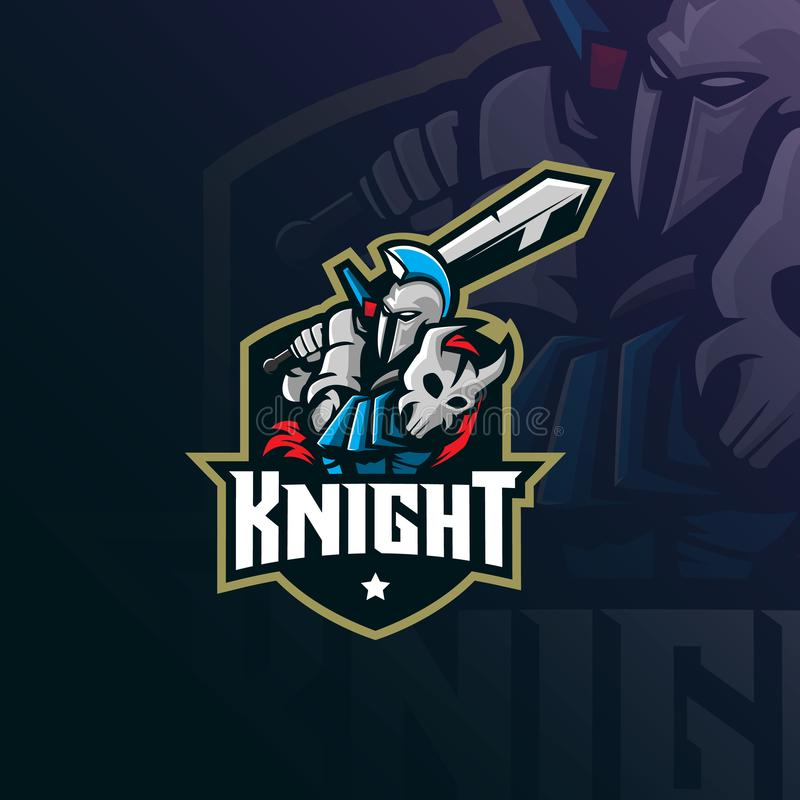 Knight mascot logo design vector with modern illustration concept style for badge, emblem and tshirt printing. knight illustration vector illustration