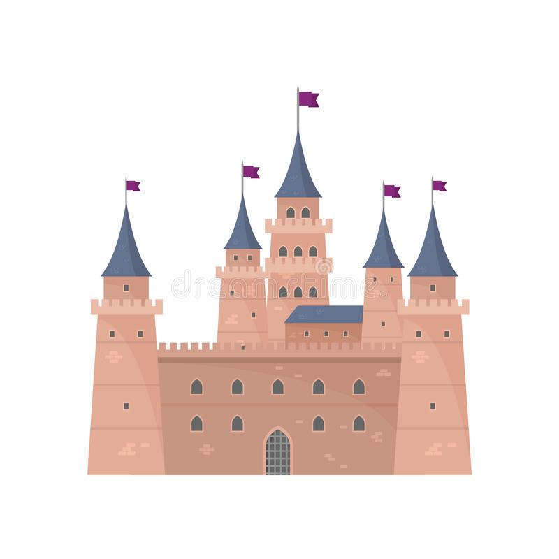 Knight medieval brown castle for defending king country. Knight medieval brown round castle for defending peaceful king country. Flat style. Vector illustration royalty free illustration