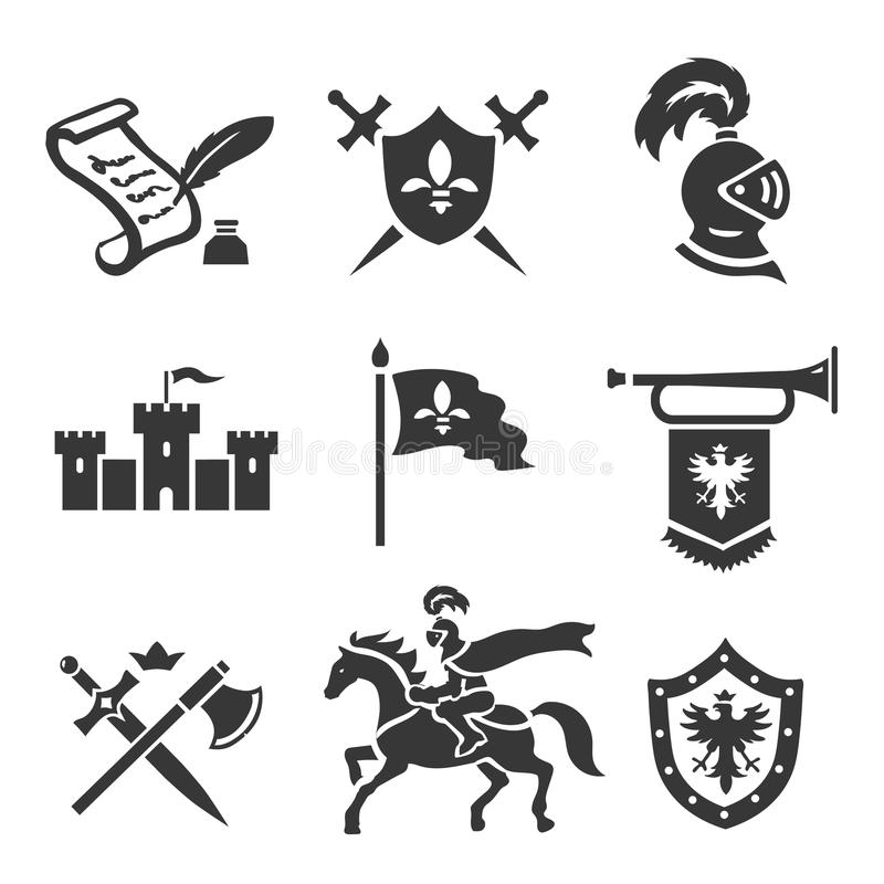 Knight medieval history vector icons set. Middle ages warrior weapons. Sword, shield and castle vector illustration