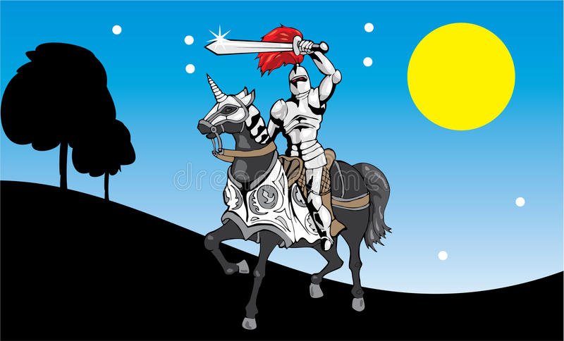 Knight in the night royalty free illustration