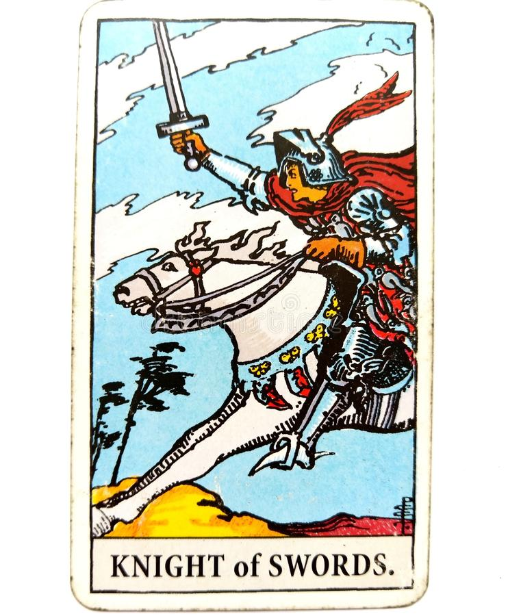 Free Knight Of Swords Tarot Card Chatty Talkative Public Speaking Vocal Literal Cool Swift Action Speed Rush Hasty Rebellious Royalty Free Stock Photo - 121262445