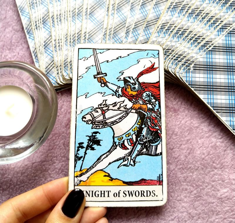 Free Knight Of Swords Tarot Card Chatty Talkative Public Speaking Vocal Literal Cool Swift Action Speed Rush Hasty Rebellious Stock Image - 122431501