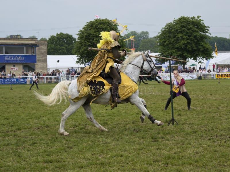 Knight practising jousting royalty free stock image