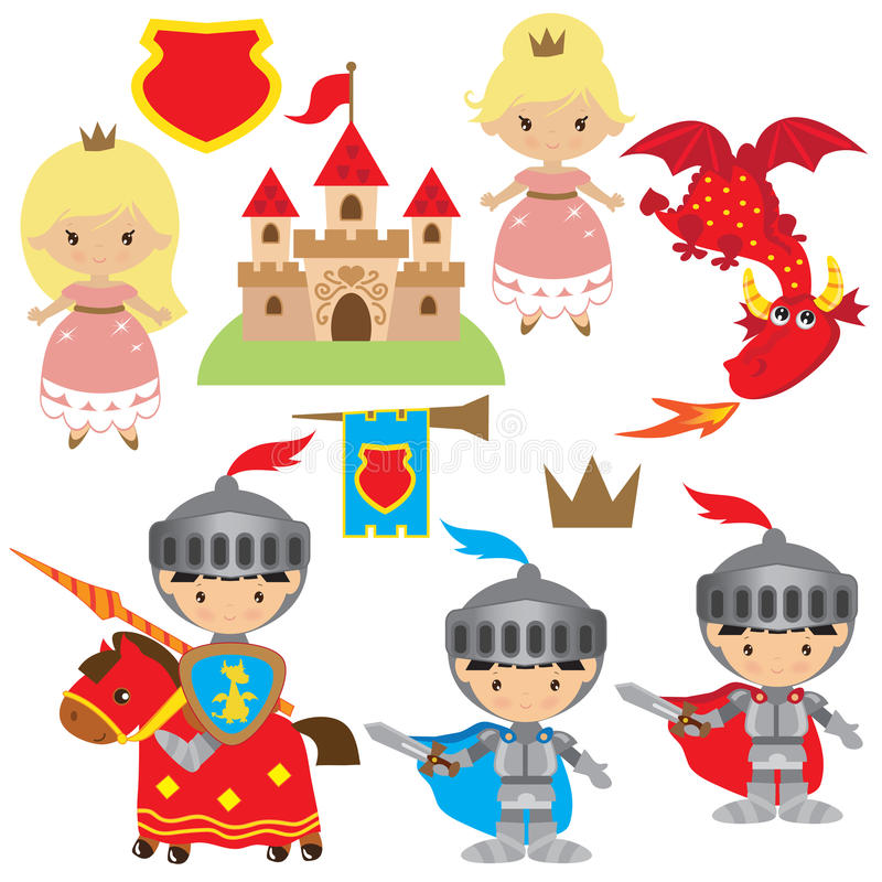 Knight, princess and dragon vector illustration royalty free illustration