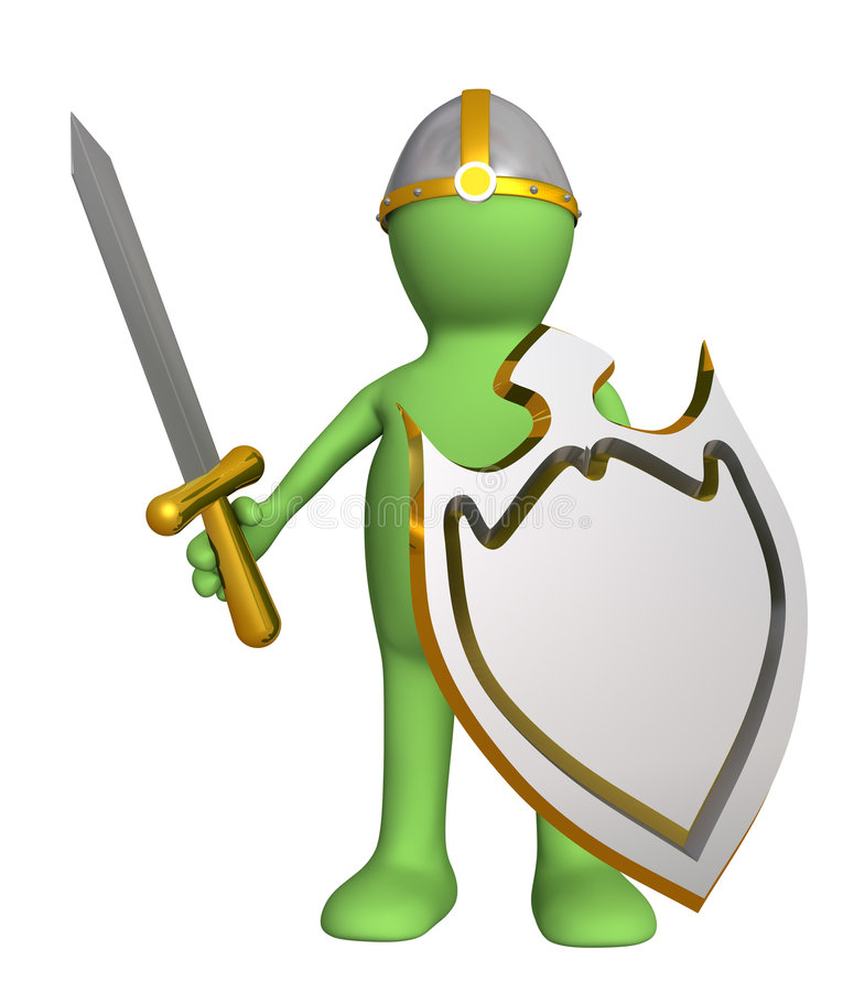 Knight - puppet in an armour, with a board. Objects over white vector illustration