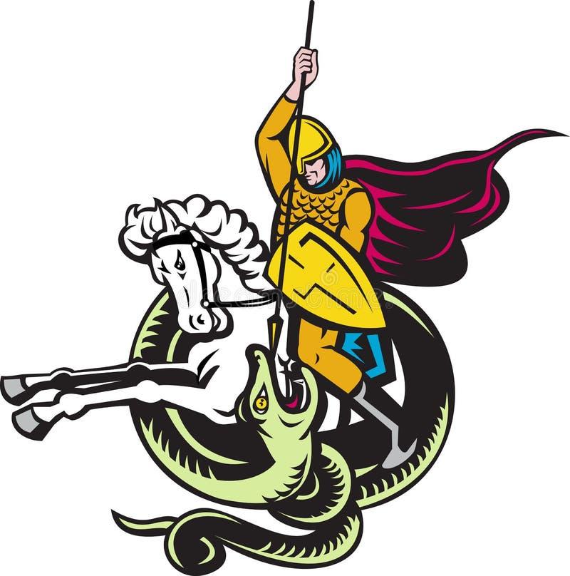 Download Knight Riding Horse Fighting Dragon Snake Stock Illustration - Illustration of artwork, warrior: 21254306