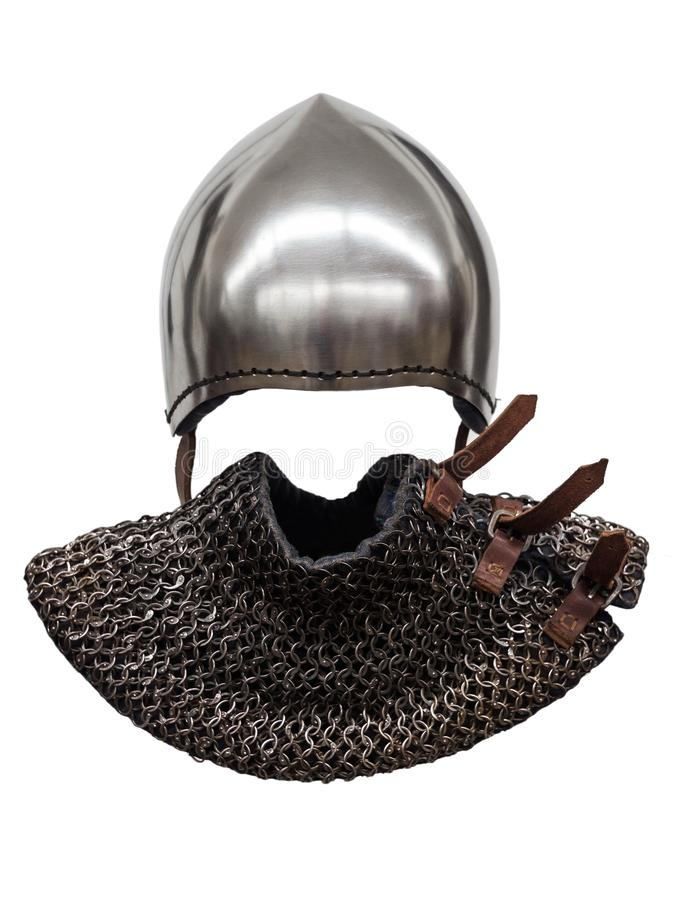 Knight`s helmet. On white background royalty free stock photography