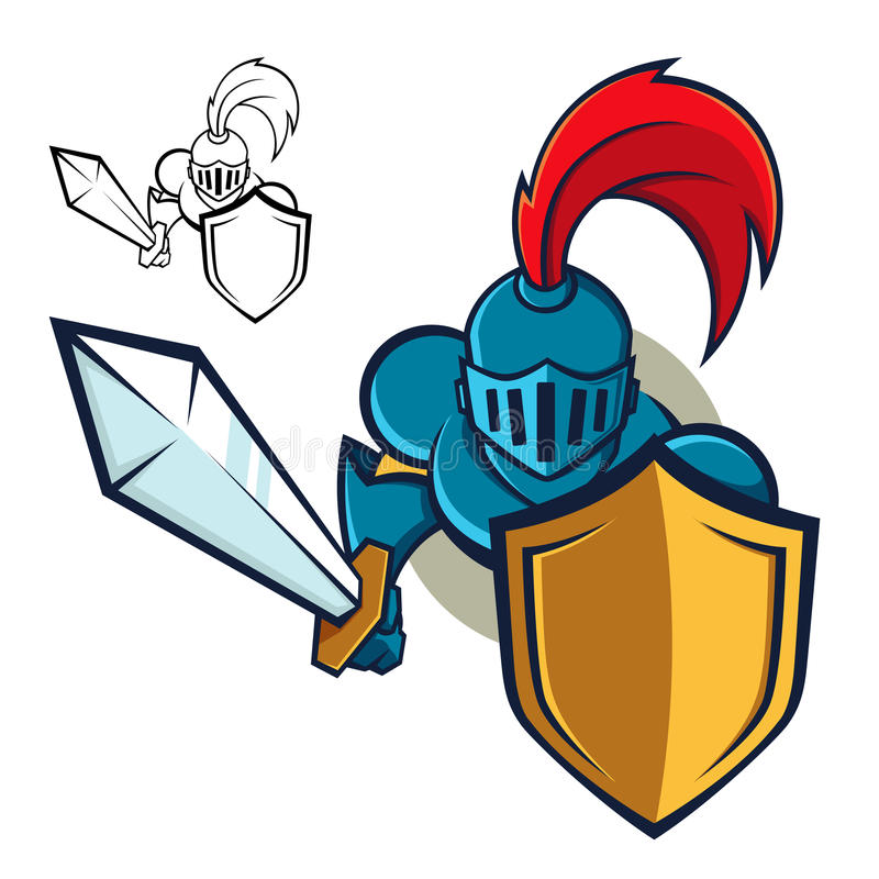 Knight with Shield and sword royalty free illustration