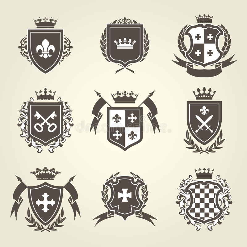 Knight Shields And Royal Coat Of Arms Stock Vector Illustration Of
