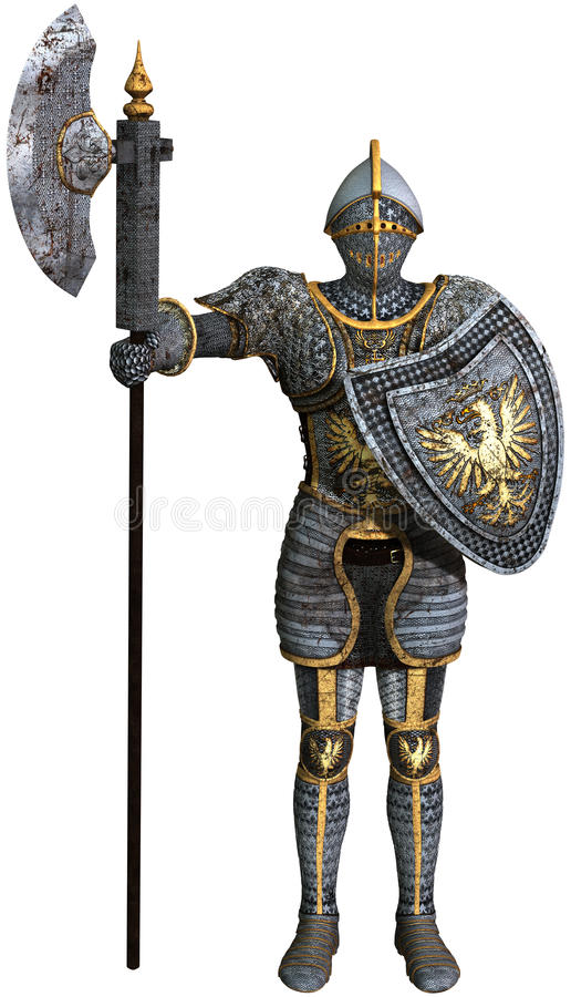 Knight, Shining Armor, Isolated Illustration royalty free illustration