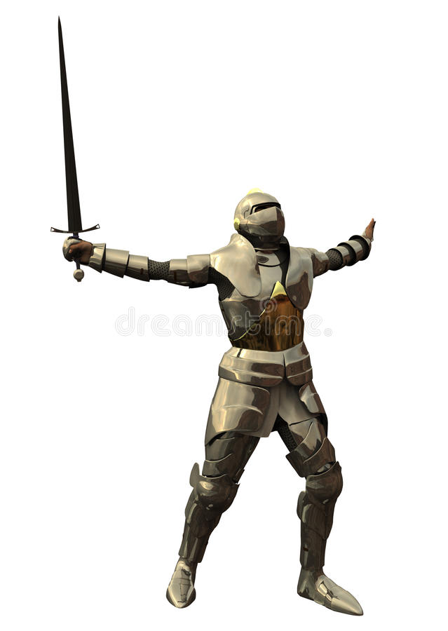 Knight in Shining Armour. Digital render of a Mediaeval or fantasy knight in shining armour in a fighting pose royalty free illustration
