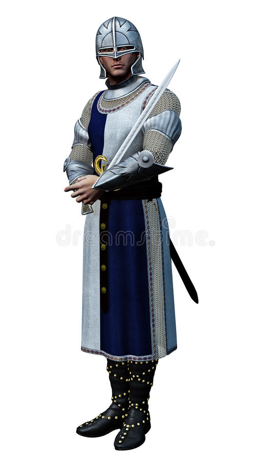 Knight in Shining Armour. 3D render of medieval warrior in armour with drawn sword stock illustration