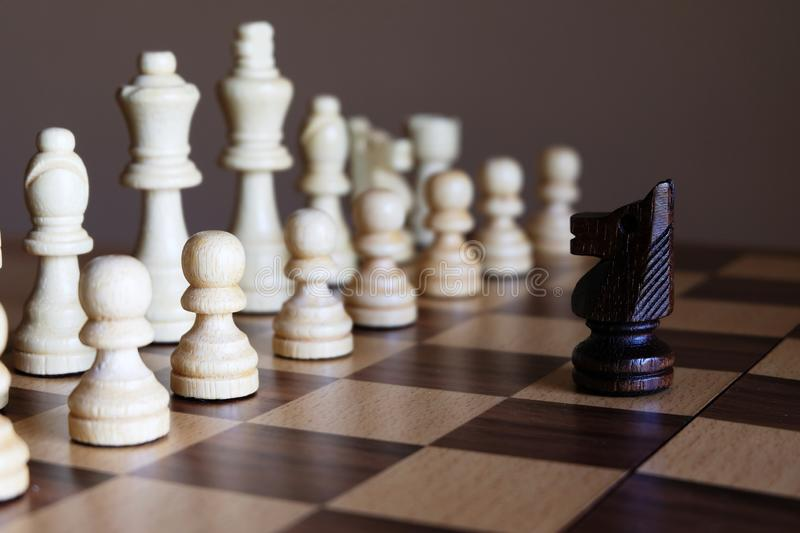 Knight stand against enemy team. Business leadership concept. Chess Knight stand against enemy team. Business leadership concept. Copy space stock image