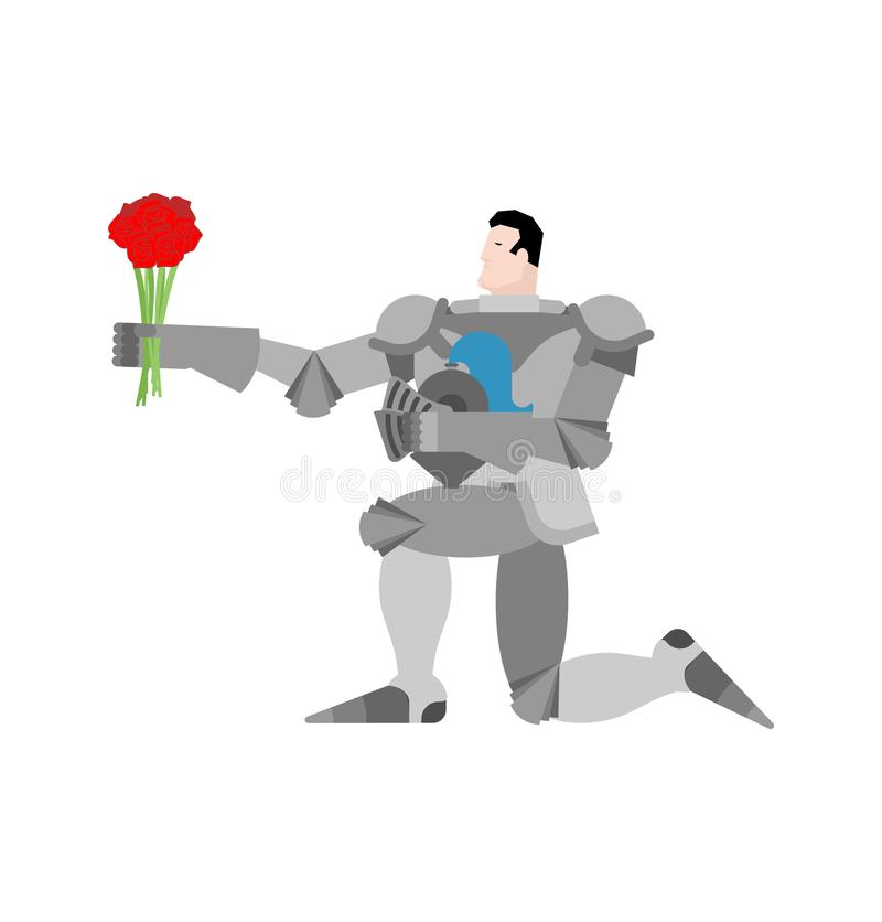 Knight standing on one knee and Bouquet of flowers. Valentines D. Ay. February 14 illustration royalty free illustration