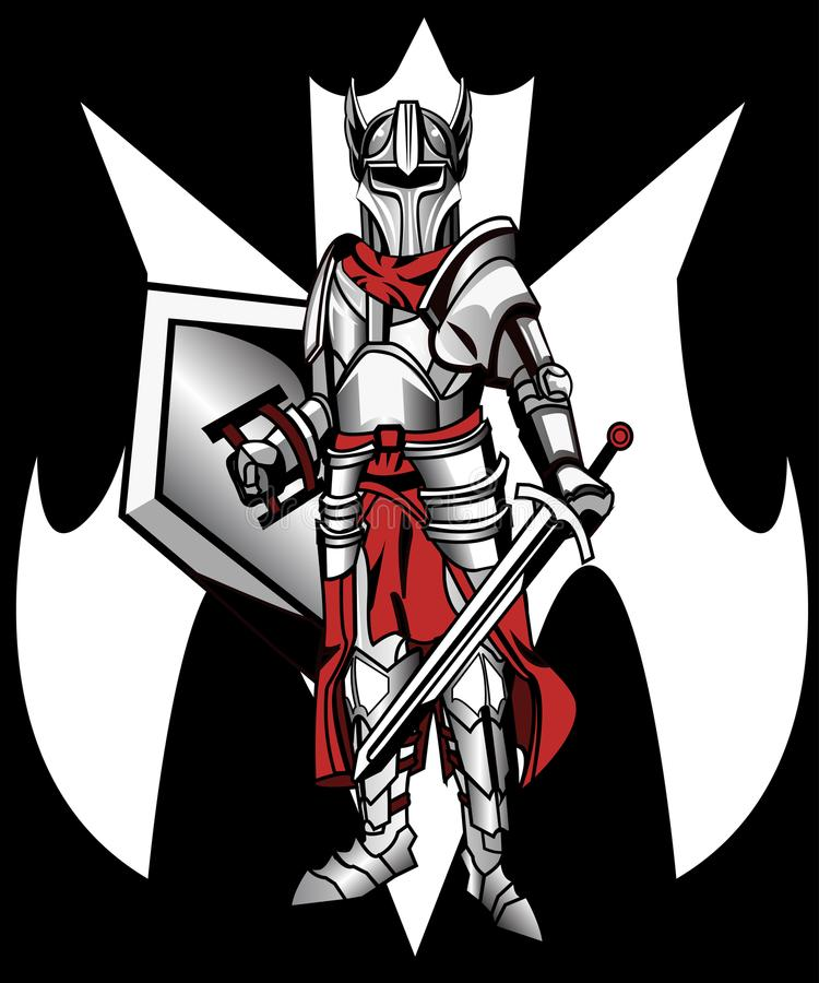 Knight stands with sword and shield stock photography