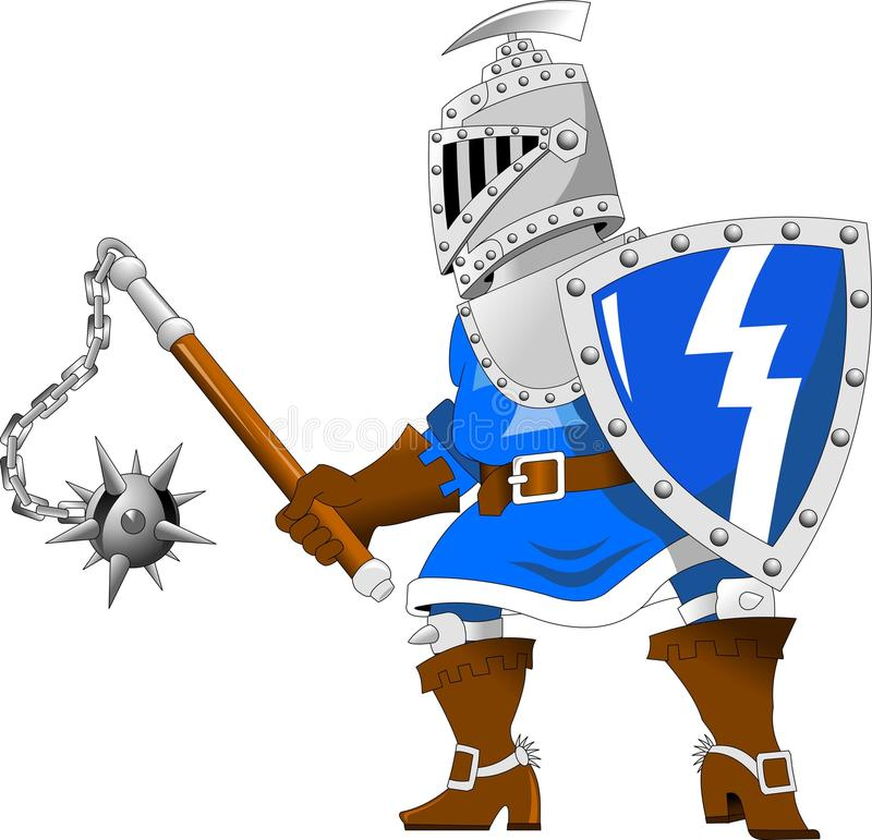 Knight with steel mace vector illustration