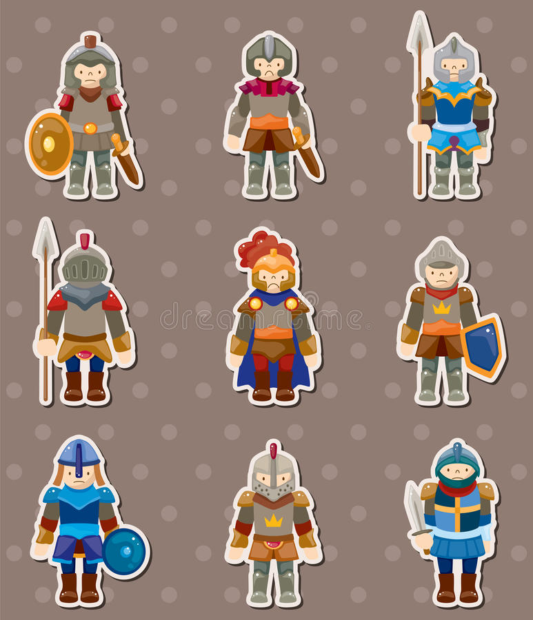 Download Knight stickers stock vector. Image of armor, military - 25147585