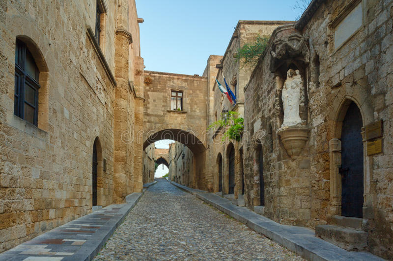Knight Street in the morning. Rhodes Island. Greece. Old Town entered in the Register of Heritage UNESCO. Knight Building, Byzantine churches and mosques stock photo