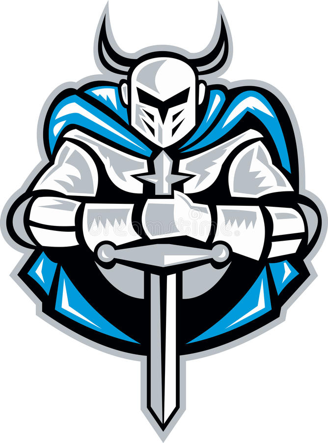 Knight With Sword And Cape Front Retro vector illustration