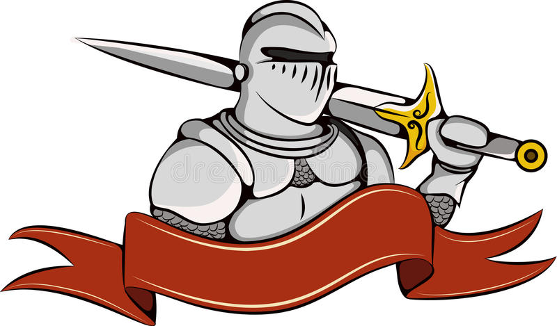 Knight with sword and ribbon logo. Warrior in white armor icon royalty free illustration