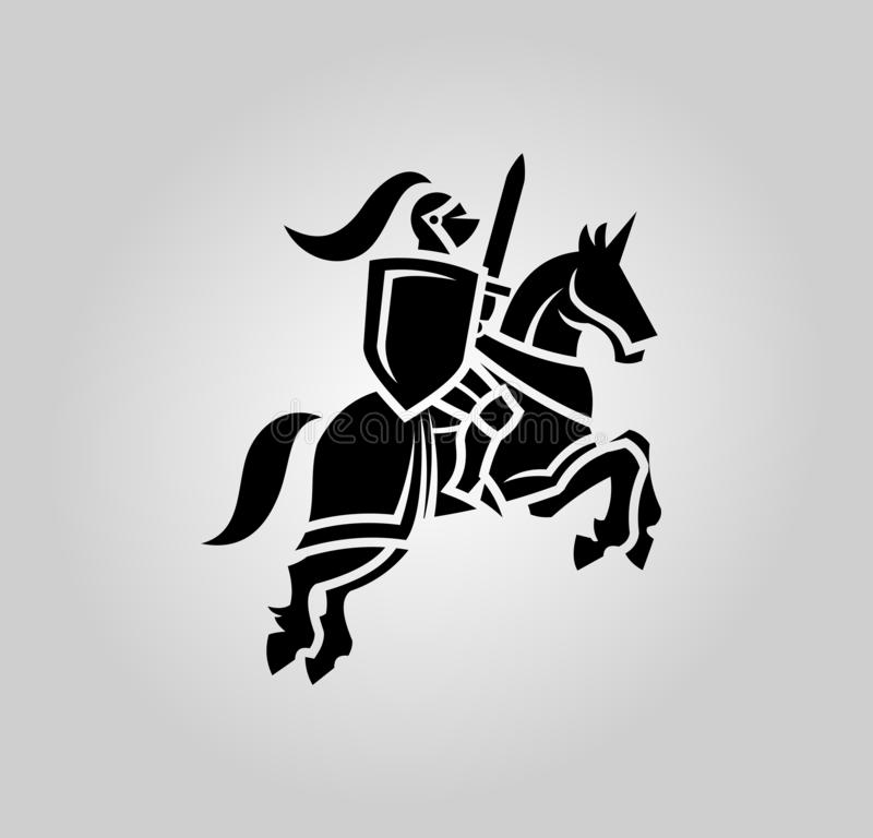Knight with sword and shield on a horse stock illustration