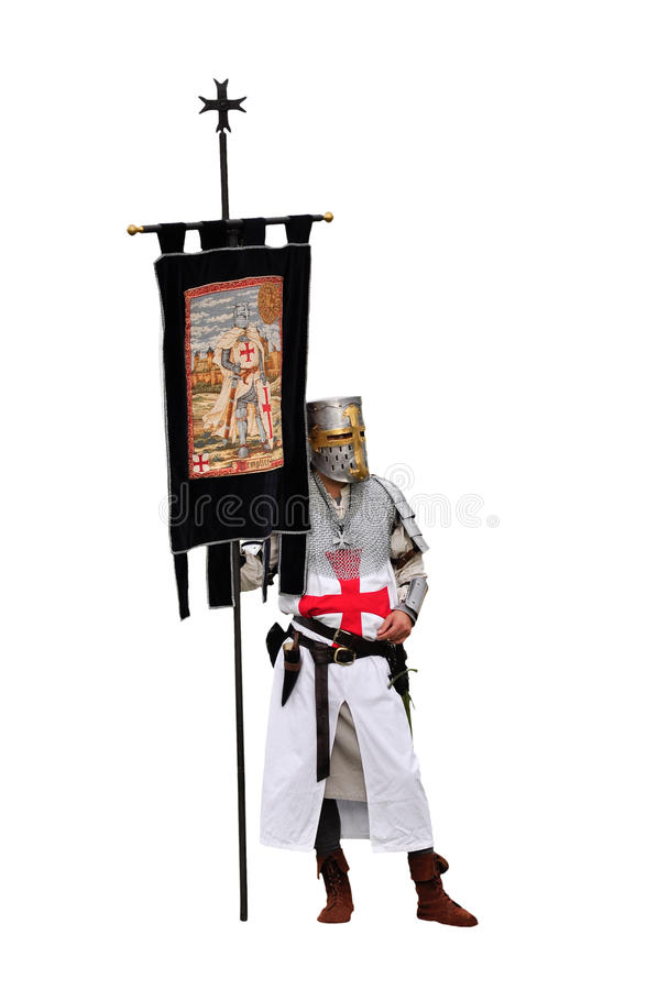 Knight Templar. Isolated on white background stock photography