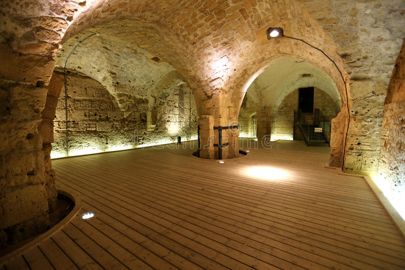 Knight templar castle in Acre, Israel royalty free stock photography
