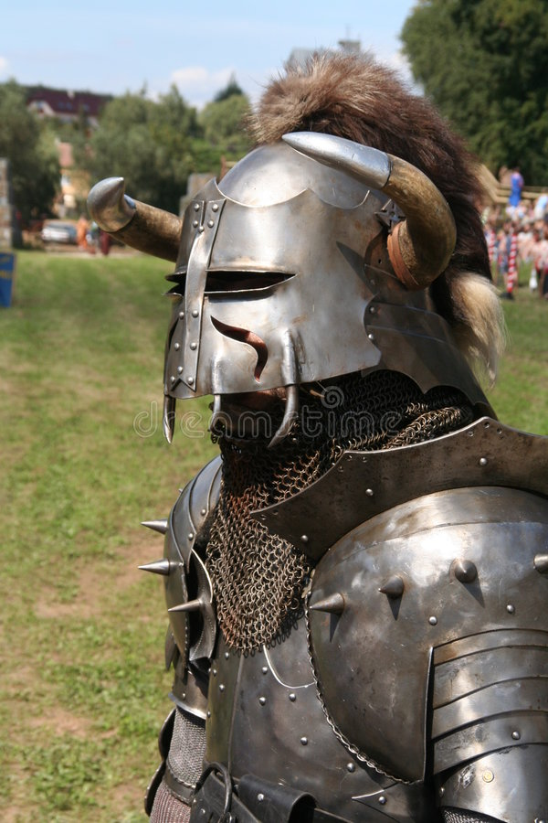 Knight in to harness stock image