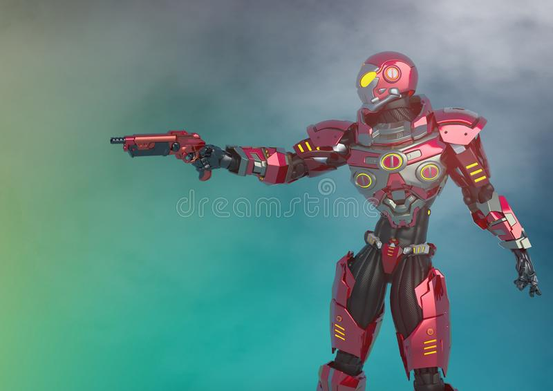 Knight vision in a sci fi outfit got a gun on smoked background royalty free illustration