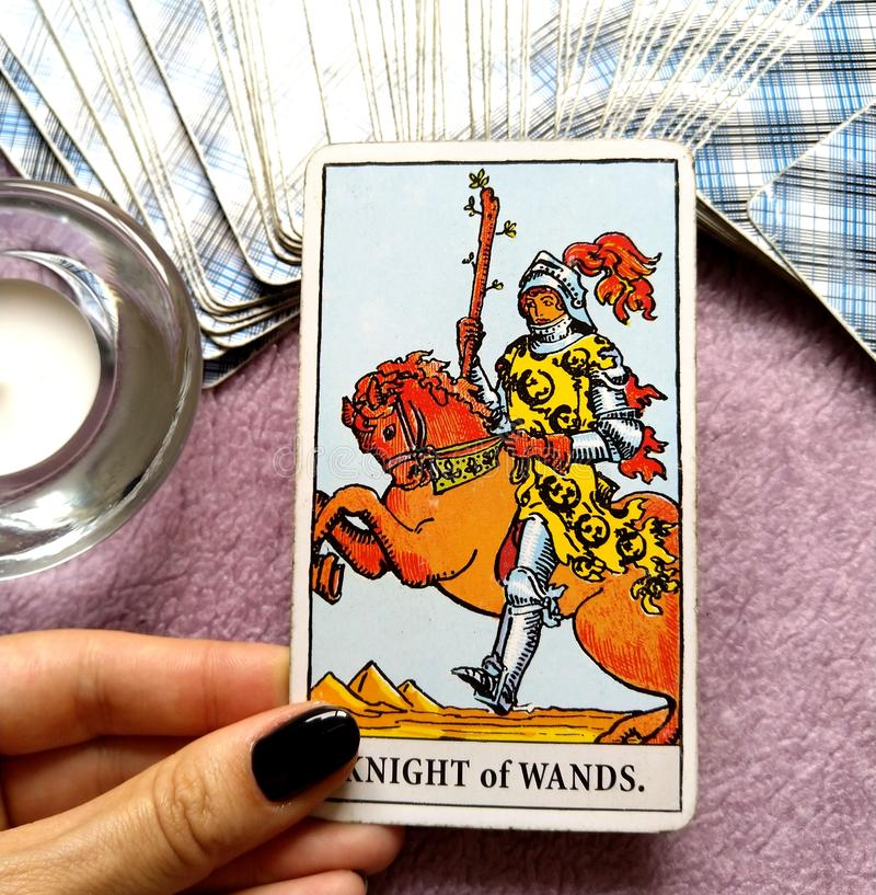 Knight of Wands Tarot Card. Is about Sudden Arrival , Great at Beginnings, Unfinished Projects, Personal Freedom. Be Bold and Brave royalty free stock photos